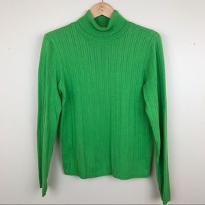 Talbots Bright Green Turtleneck Sweater